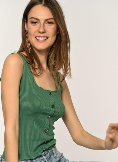 Loves You Düğmeli Kaşkorse Bluz Yeşil